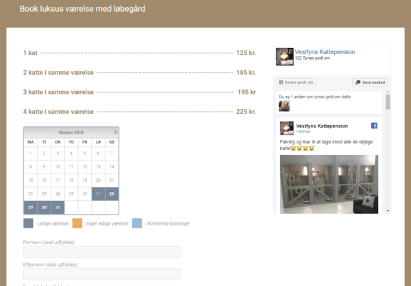 Vestfyns Kattepension har fået en billig booking hjemmeside lavet af Dit Online Visitkort
