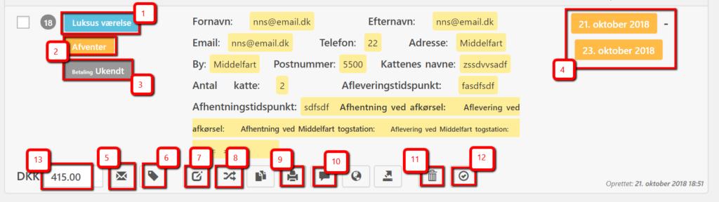 Forklaring af booking-detaljer i billig WordPress hjemmeside lavet af Dit Online Visitkort