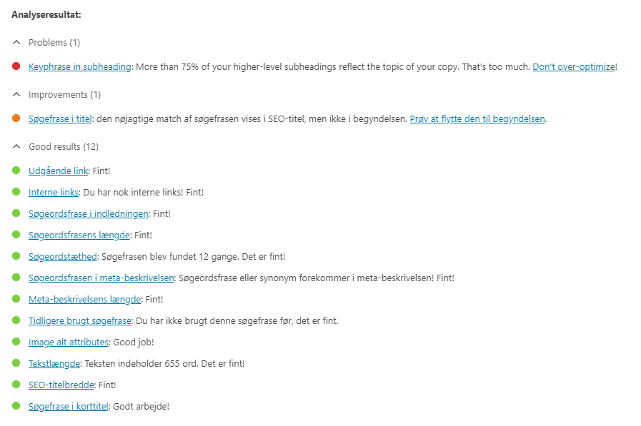 Yoasts analyseresultat giver dig gode råd om hvad du bør gøre og hjælper med google optimering
